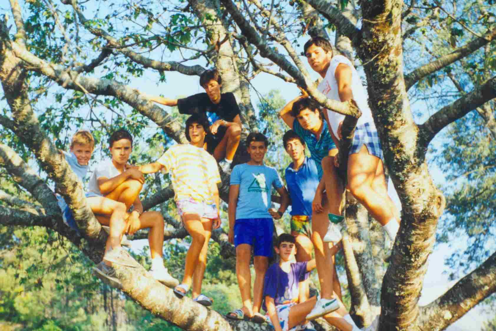 Juventude do Monte Frio em cima da antiga cerejeira da escola em Agosto de 1988