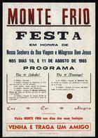 Cartaz da festa de 1985; Impresso na Tip. de «A Comarca», Arganil, 1985; 1 cartaz colorido; Tamanho 54x37 cm