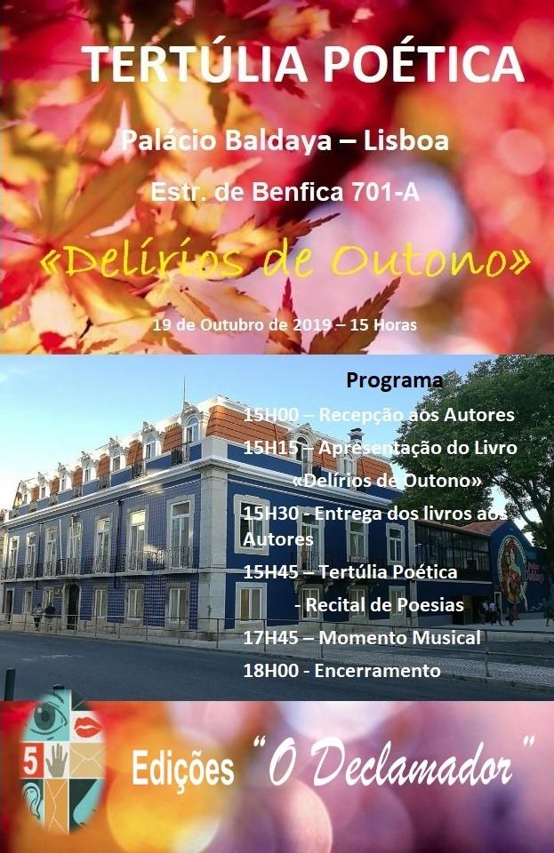 Convite para a apresentação do Livro 'Delírios de Outono - Colectânea lusófona de Poesia e Prosa Poética' de 81 autores, no Sábado, 19 de Outubro de 2019