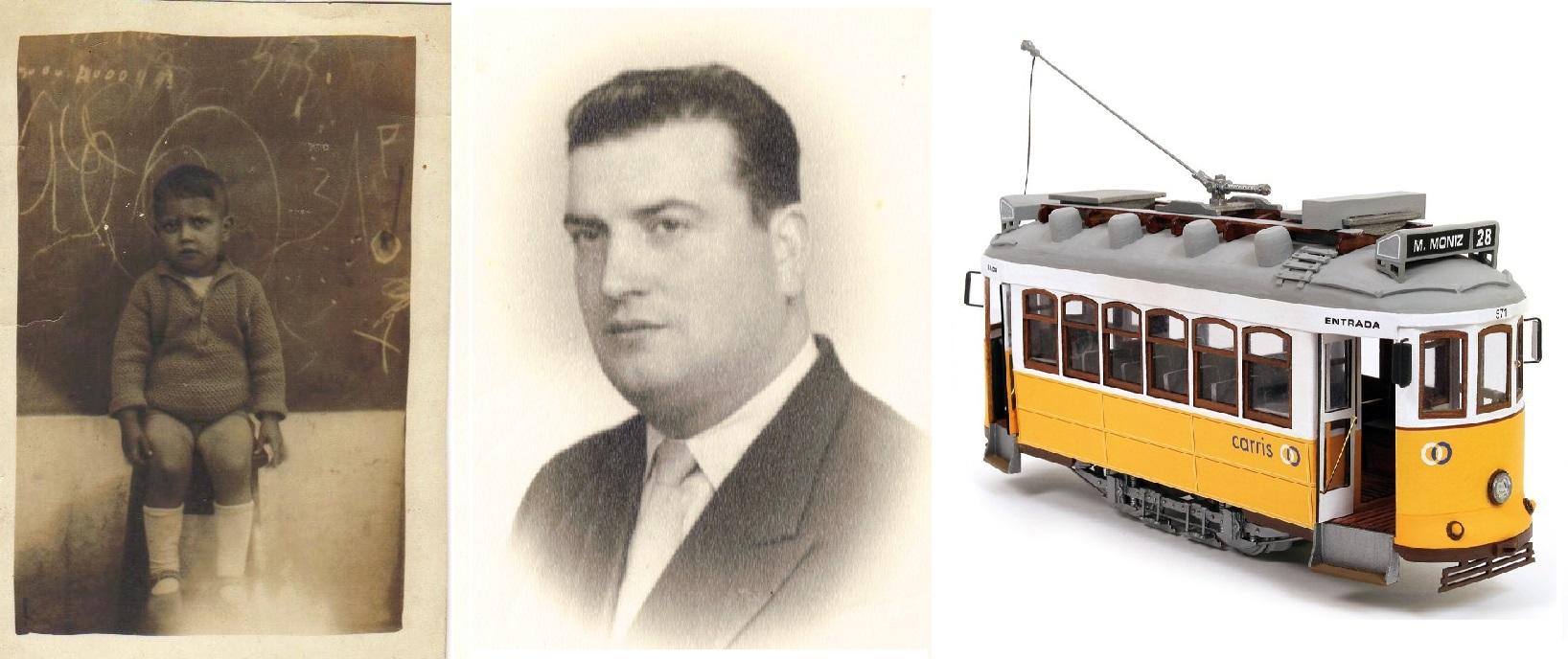 José Augusto Pimenta na escola do Monte Frio em 1931 ou 1932, em idade adulta e eléctrico de Lisboa