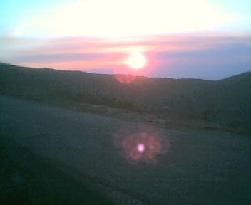 Pôr do Sol a partir da Fonte do Pião da estrada que vai para o Piódão vista de este para oeste na Quinta-feira, 10 de Agosto de 2006